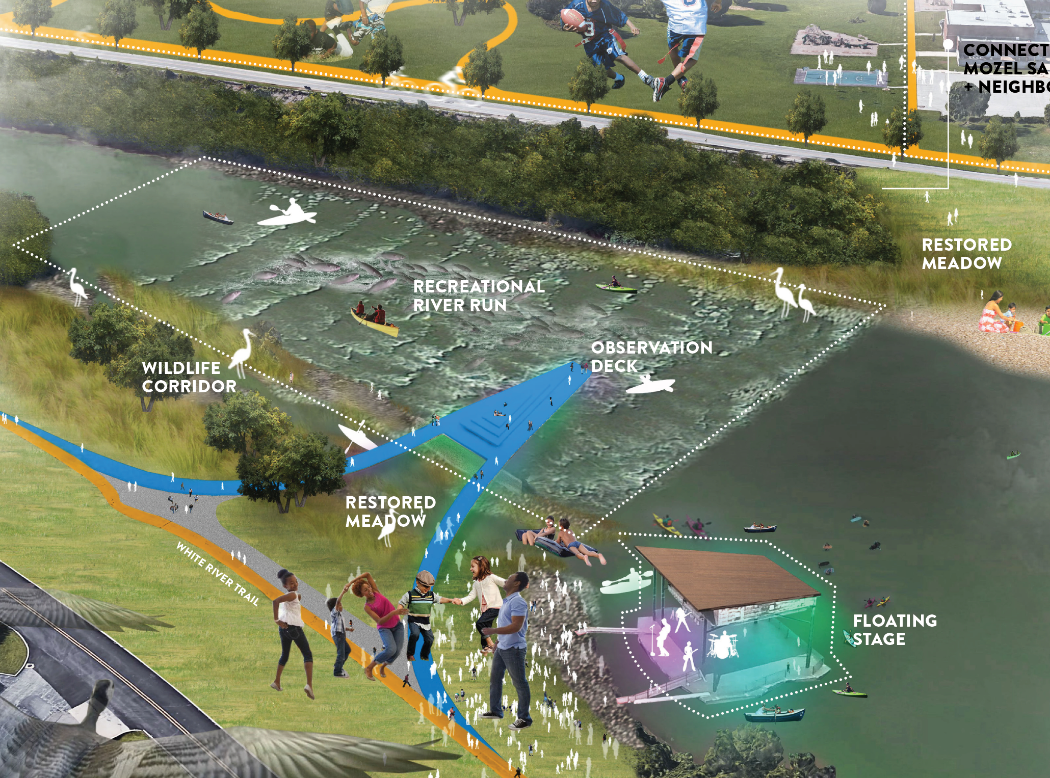 Quarry climbing, kayaking, and yes, swimming: City unveils first look at White River plans