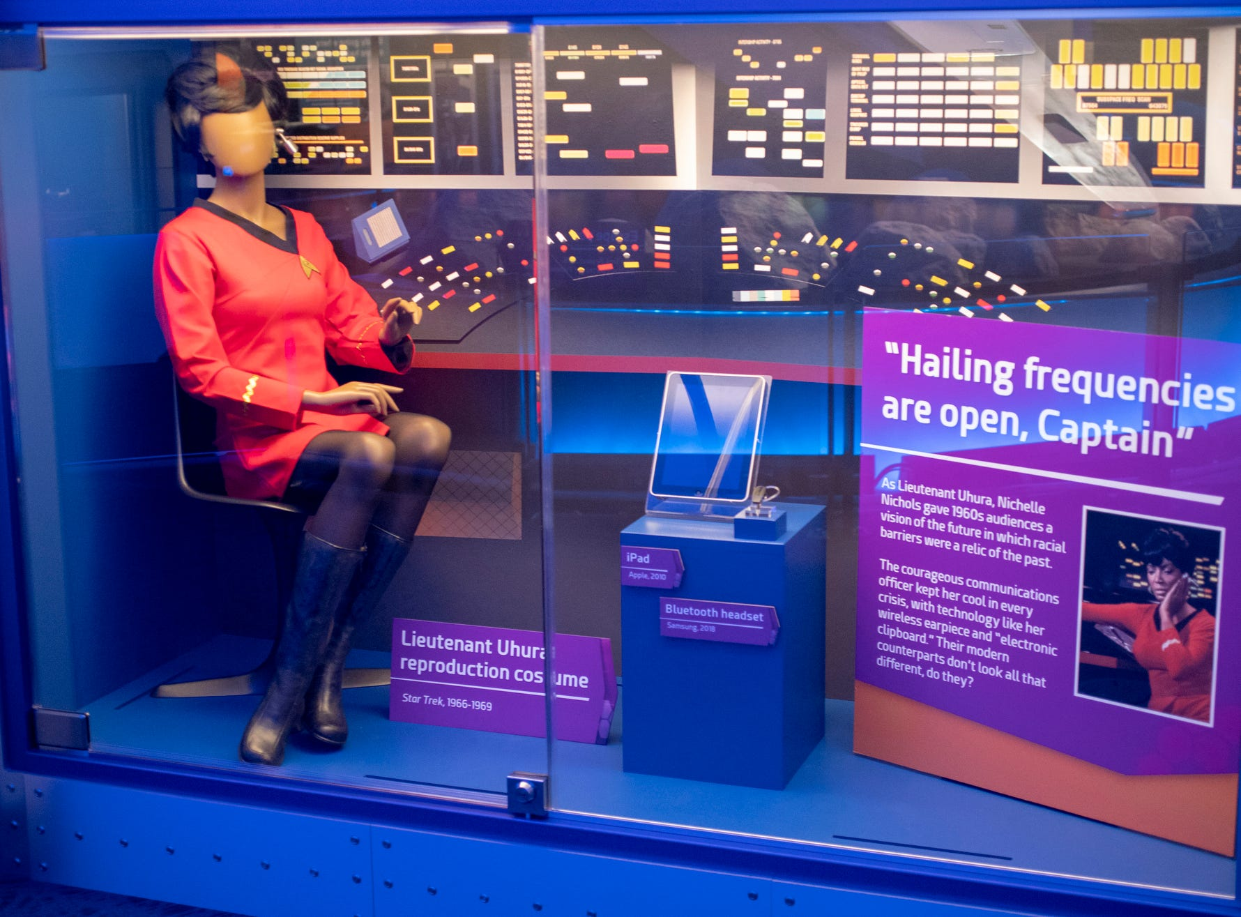 """A reproduction of an outfit worn by Nichelle Nichols' Lt. Uhura character is seen at The Children's Museum of Indianapolis, Wednesday, Jan. 23, 2019. The """"Star Trek: Exploring New Worlds"""" exhibit is made up of set pieces, ship models and outfits used during various Star Trek shows and movies and is on display at the museum from Feb. 2 through April 7, 2019."""