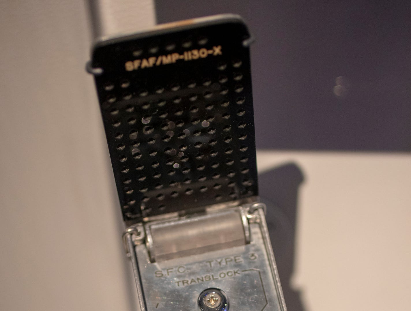 """A communicator used in """"Star Trek II: The Wrath of Khan"""" is seen at The Children's Museum of Indianapolis, Indianapolis, Wednesday, Jan. 23, 2019. The """"Star Trek: Exploring New Worlds"""" exhibit is made up of set pieces, ship models and outfits used during various Star Trek shows and movies and is on display at the museum from Feb. 2 through April 7, 2019."""