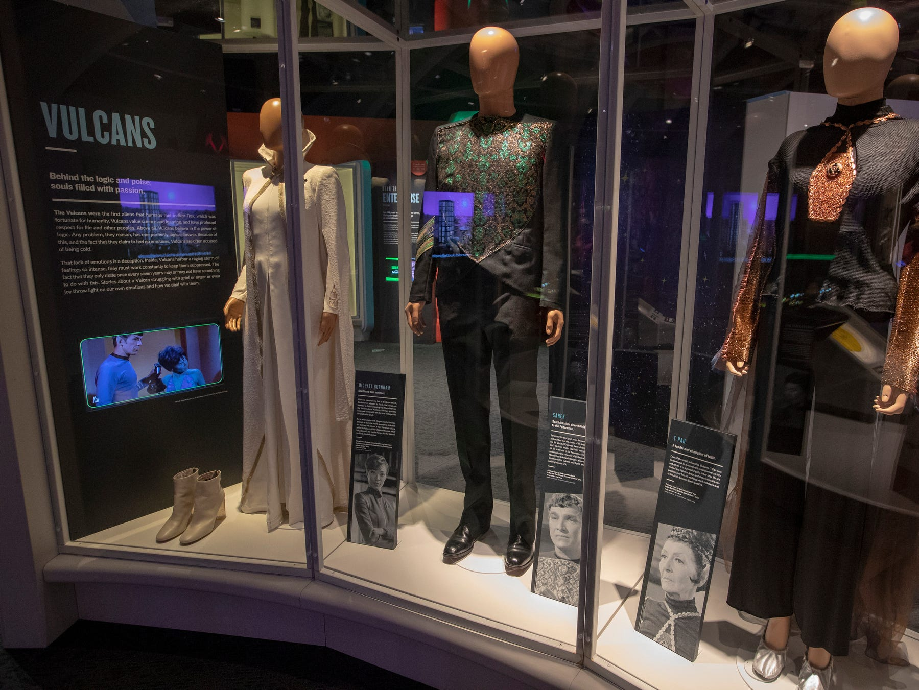 """Various outfits worn by Vulcan characters are seen at The Children's Museum of Indianapolis, Wednesday, Jan. 23, 2019. The """"Star Trek: Exploring New Worlds"""" exhibit is made up of set pieces, ship models and outfits used during various Star Trek shows and movies and is on display at the museum from Feb. 2 through April 7, 2019."""