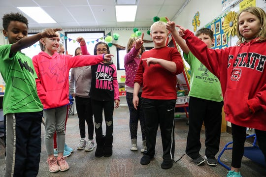 "Students in Becky Yoder's second-grade class demonstrate an exercise called box breathing, at Hinkle Creek Elementary in Noblesville, Ind., Friday, Jan. 18, 2019. Noblesville is one school district implementing ""neuroscience in the classroom,"" which aims to make students more mindful of their mental health to cope with daily stressors and distractions and better their ability to learn. Students implement daily exercises, use fidget tools and can take brief breaks to refresh."