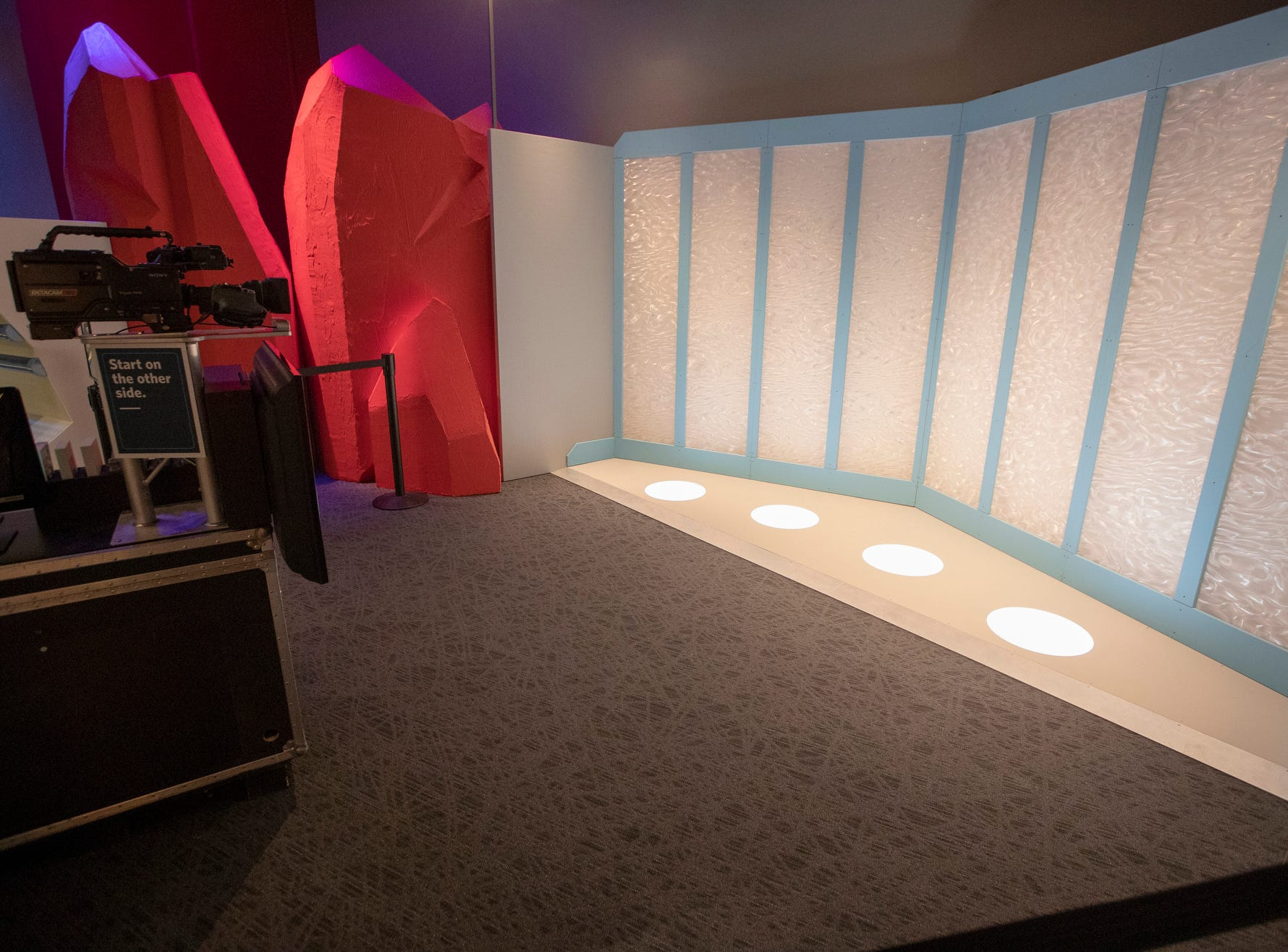 """A set of Star Trek transporter pads is seen at The Children's Museum of Indianapolis, Wednesday, Jan. 23, 2019. The """"Star Trek: Exploring New Worlds"""" exhibit is made up of set pieces, ship models and outfits used during various Star Trek shows and movies and is on display at the museum from Feb. 2 through April 7, 2019."""