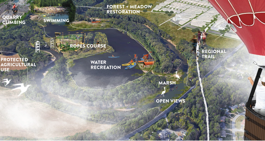 A rendition released by planners in January 2019 depicting proposed amenities on the White River near Allisonville Road. One suggestion is to turn this area into an extreme recreation park with ropes courses, water recreation and quarry climbing.