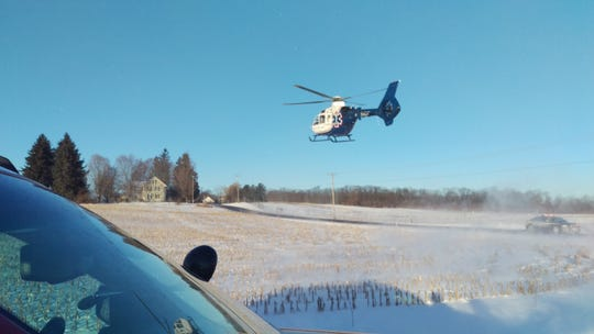 A woman involved in a crash was airlifted to Robert Packer Hospital for treatment of her injuries.