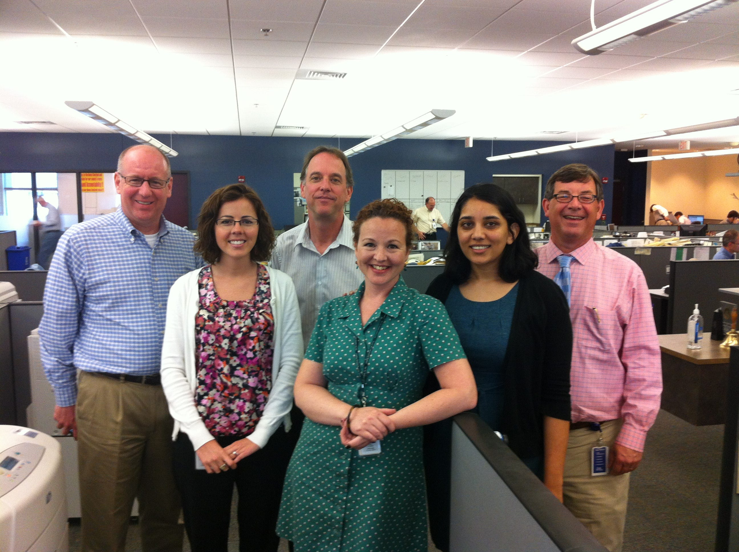 Members of the Scripps corporate team from Cincinnati, Ohio, visited the Knoxville News Sentinel on May 1 and May 2, 2012. They posed for a photo in the newsroom with the Web staff. From left, Chip Mahaney, Lauren Spuhler, Bruce McLean, Erin Chapin, Jigsha Desai and Jack Lail.