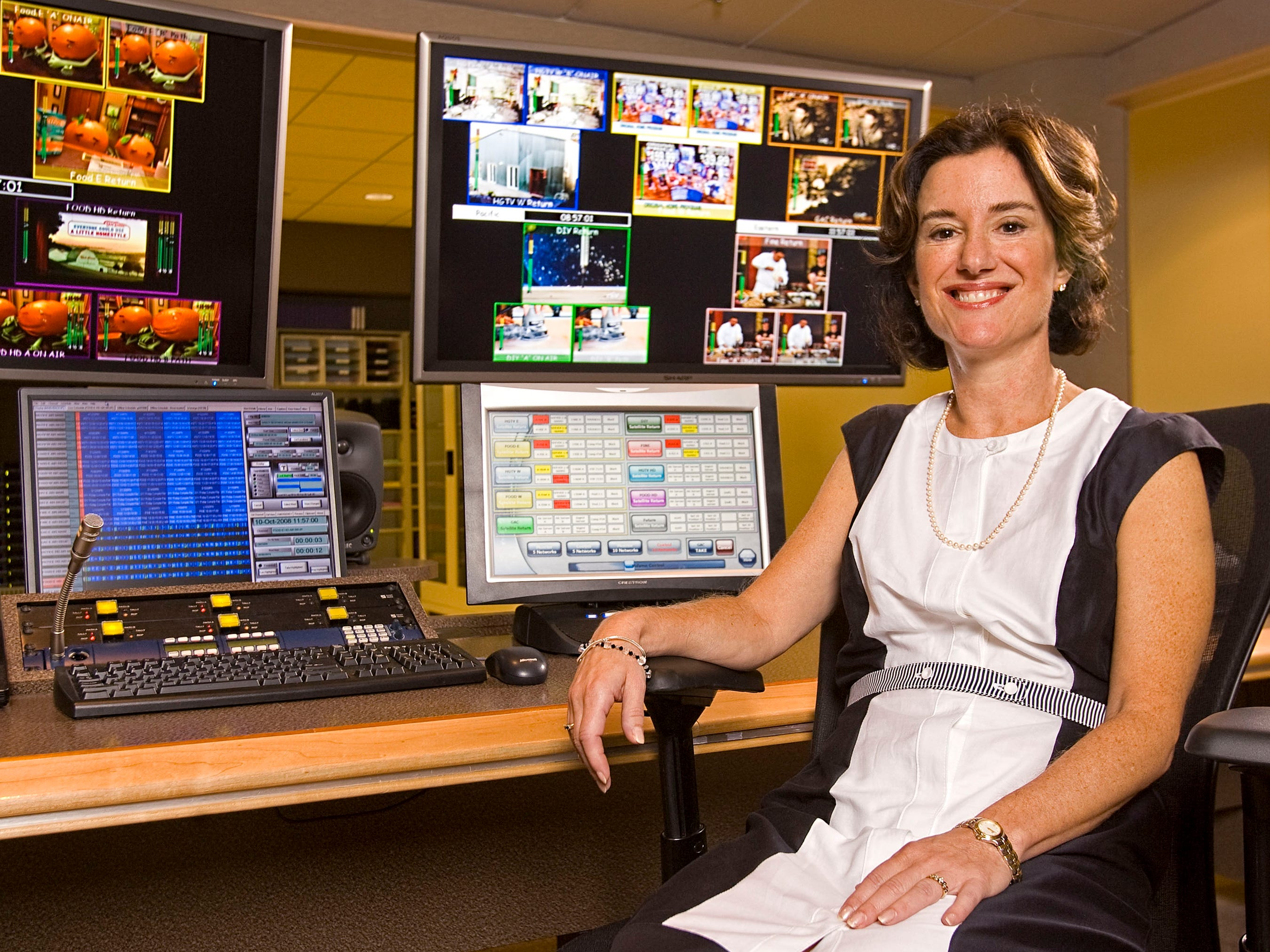 Susan Packard sits in the operations center at HGTV's corporate headquarters Friday, Oct. 10, 2008.