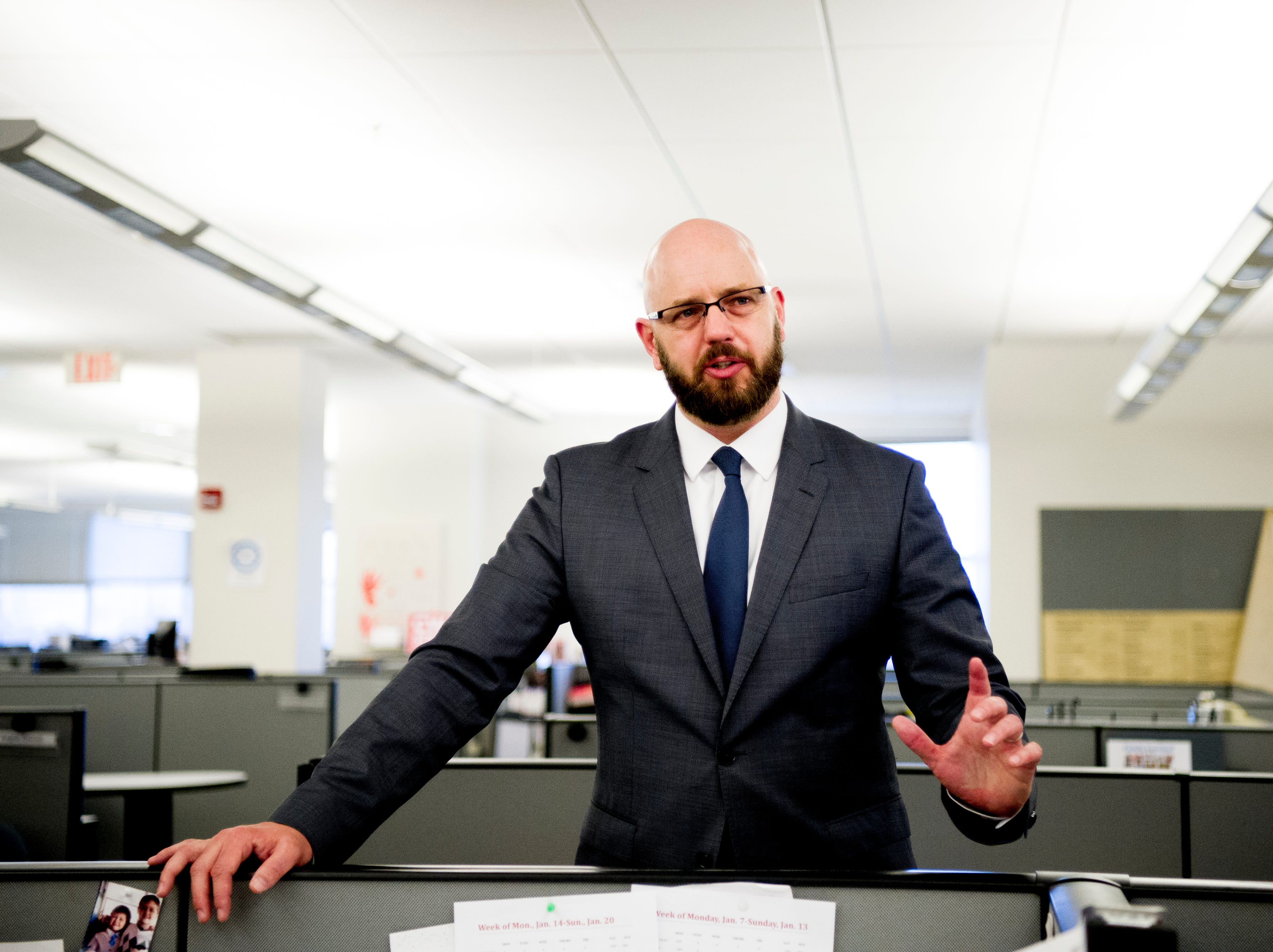Joel Christopher, Executive Editor of the Courier Journal in Louisville, Kentucky, speaks during a welcome celebration in the Knoxville News Sentinel newsroom in Knoxville, Tennessee on Friday, January 4, 2019. Christopher will take the helm of Knoxville News Sentinel in February as executive editor.