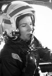 ENS Rosemary Conatser at the controls of a fleet composite Squadron Two, VC-2, S-2 Tracker Antisubmarine Aircraft at Naval Air Station Oceana in Virginia Beach on January 9, 1975.