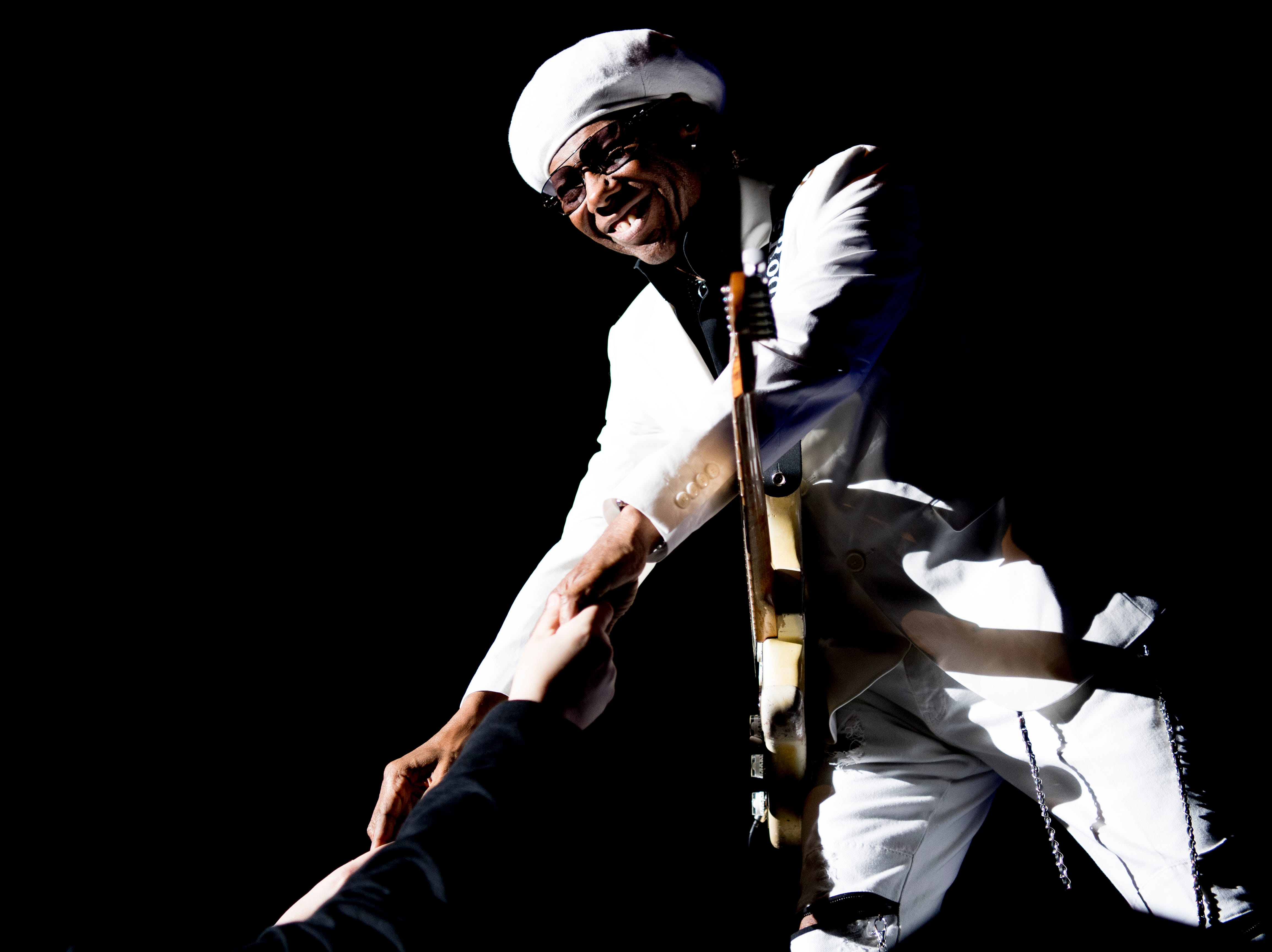 Nile Rodgers performs at the Tennessee Theatre in Knoxville, Tennessee on Wednesday, January 30, 2019.