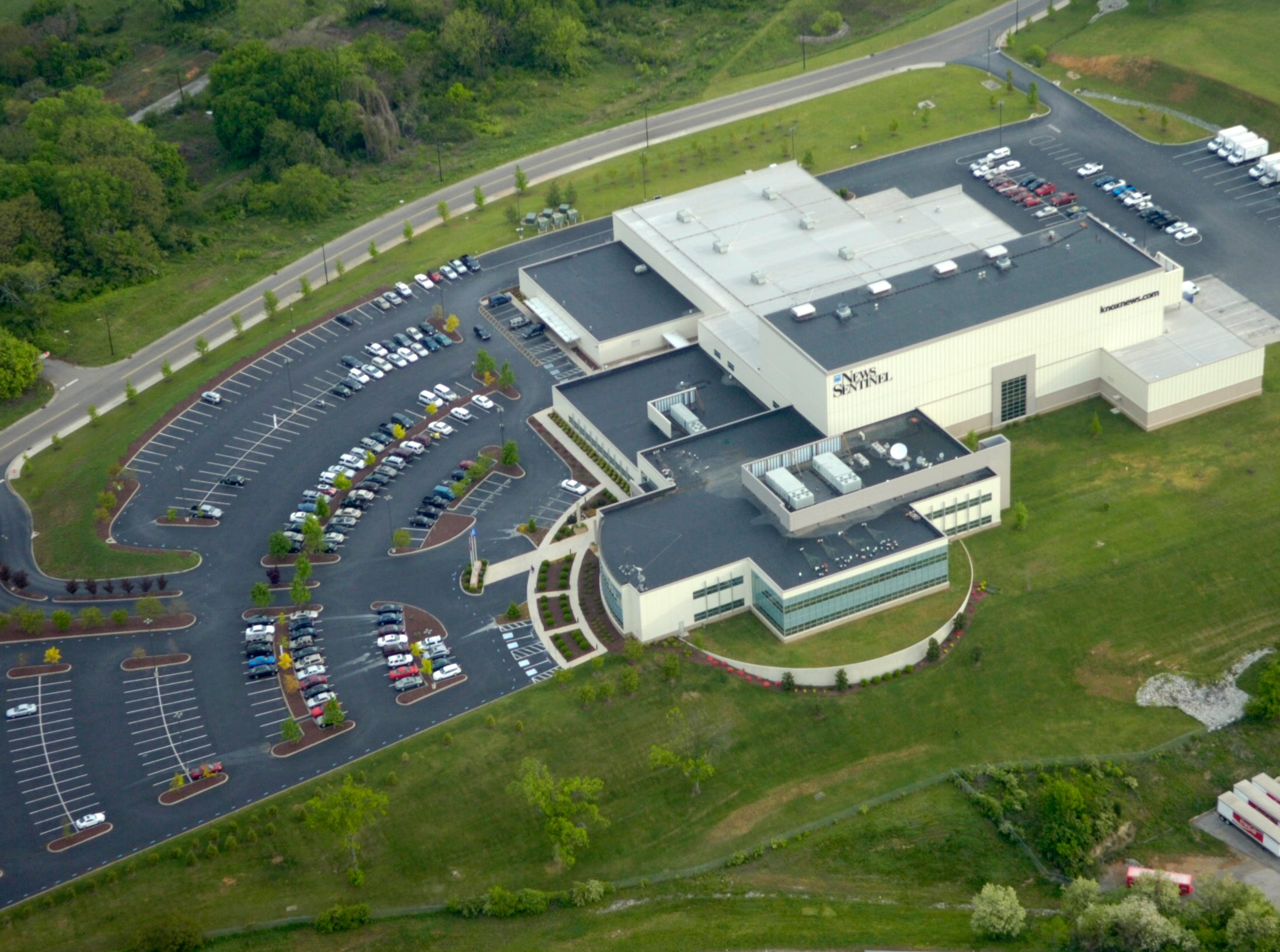 This aerial view, pictured Thursday on day one of the smartFix40 closure, shows the News Sentinel building.