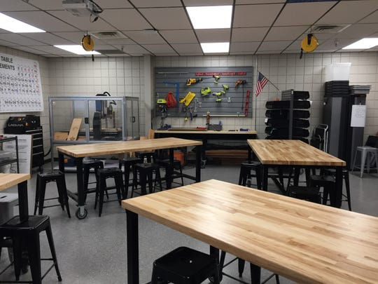 A lab in the new DREAM space at St. Thomas More gives students the chance to perform hands-on activities.