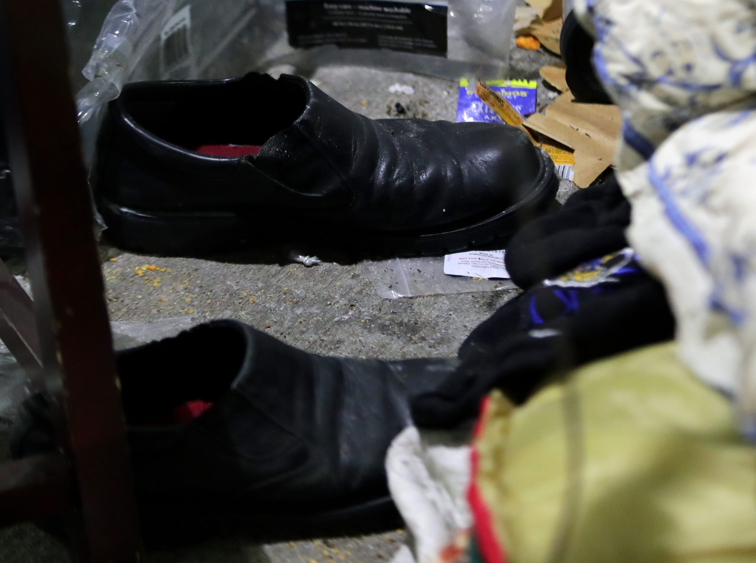 """Belongings of Brian, a homeless man that goes by """"Detroit,"""" that lives under under the viaduct on Jefferson between Preston and Jackson. Jan. 31, 2019"""