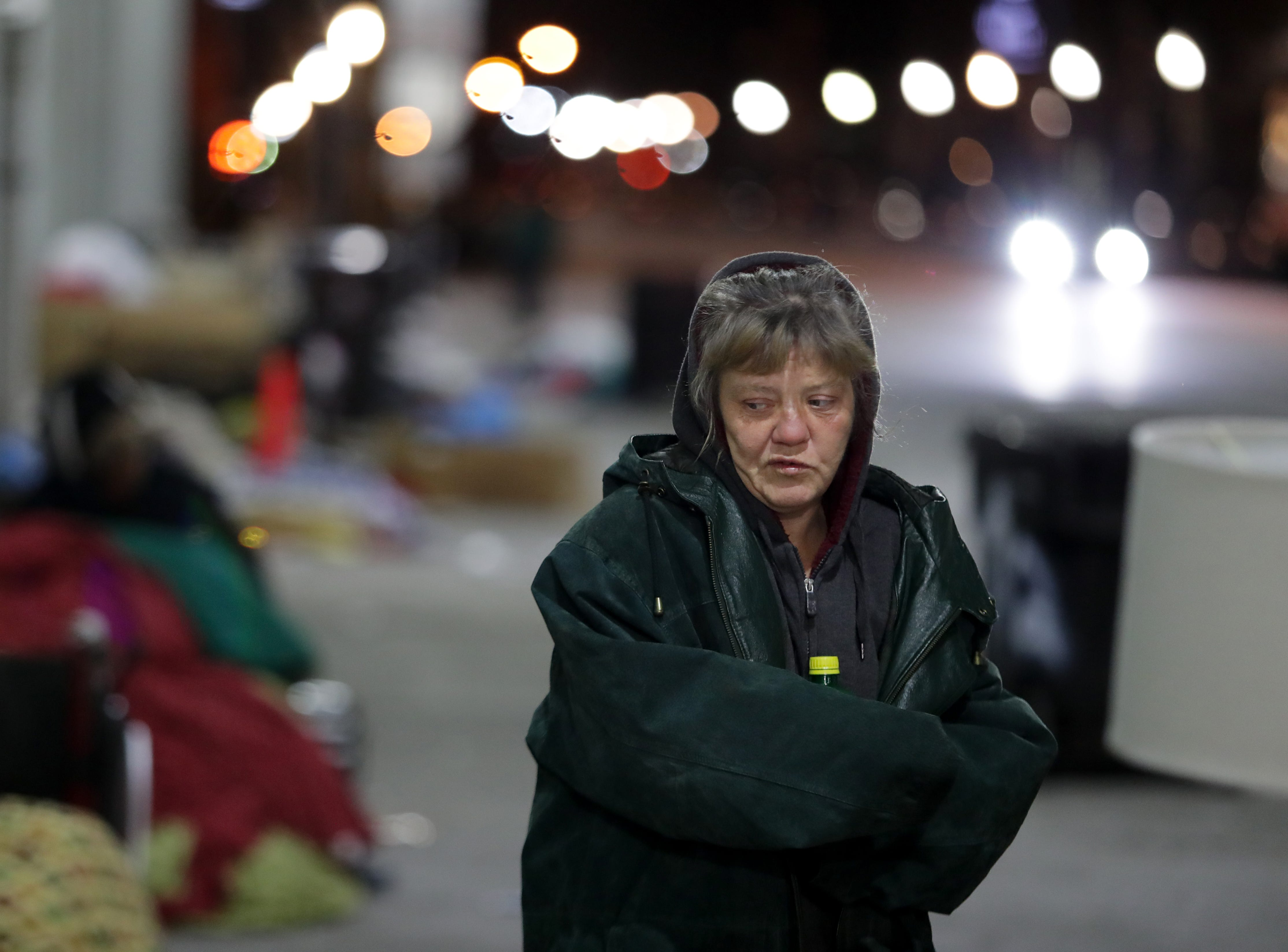 Tonya Collier, a homeless woman, left her camp on Jefferson and sleep inside last night due to the extreme cold temperatures. Jan. 31, 2019