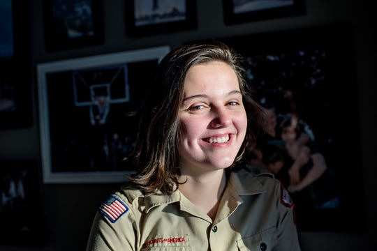 Autumn Eyre, 15, of Laingsburg, will be among the first older girls allowed into Boy Scouts, being rebranded Scouts BSA on Friday.