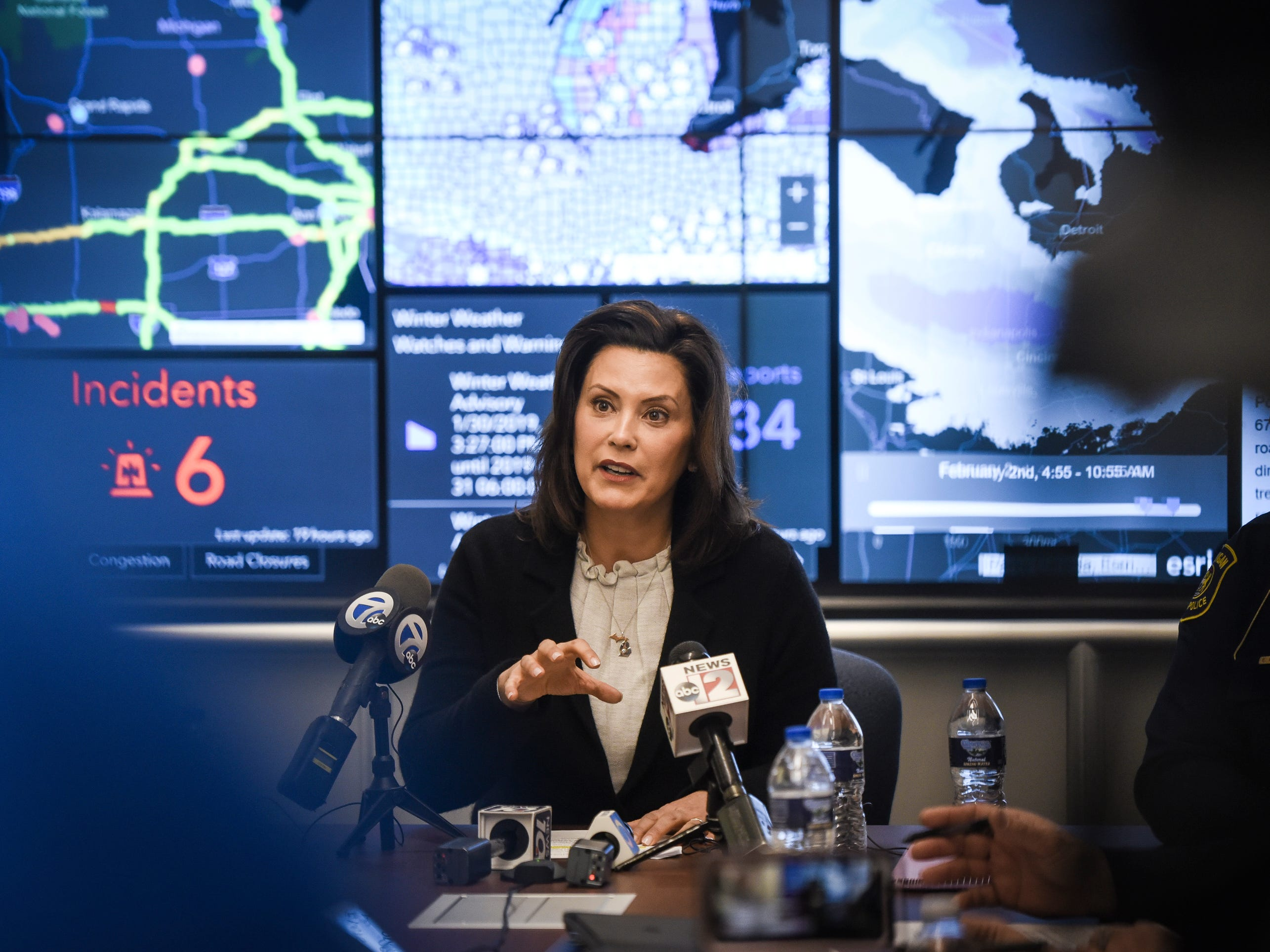 Michigan Governor Gretchen Whitmer speaks to the press Thursday, Jan. 31, 2019, at the State Emergency Operations Center at the Michigan State Police headquarters in Dimondale.  Whitmer talked about the state's response to the polar vortex and deadly windchills.  [USA Today Network/Matthew Dae Smith/Lansing State Journal]