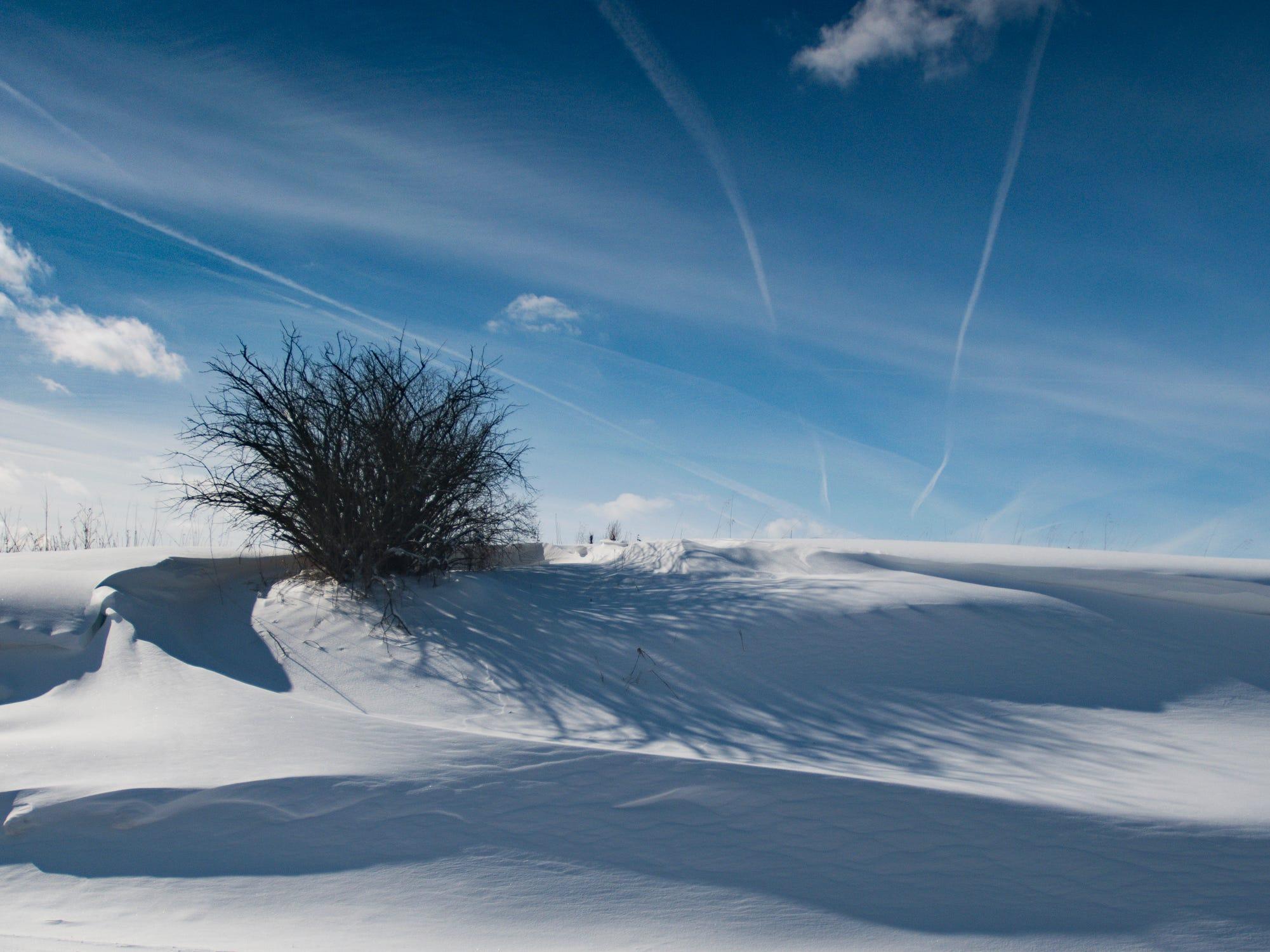 A snowdrift just east of Creyts Rd. in Delta Township, Thursday, Jan. 31, 2019.