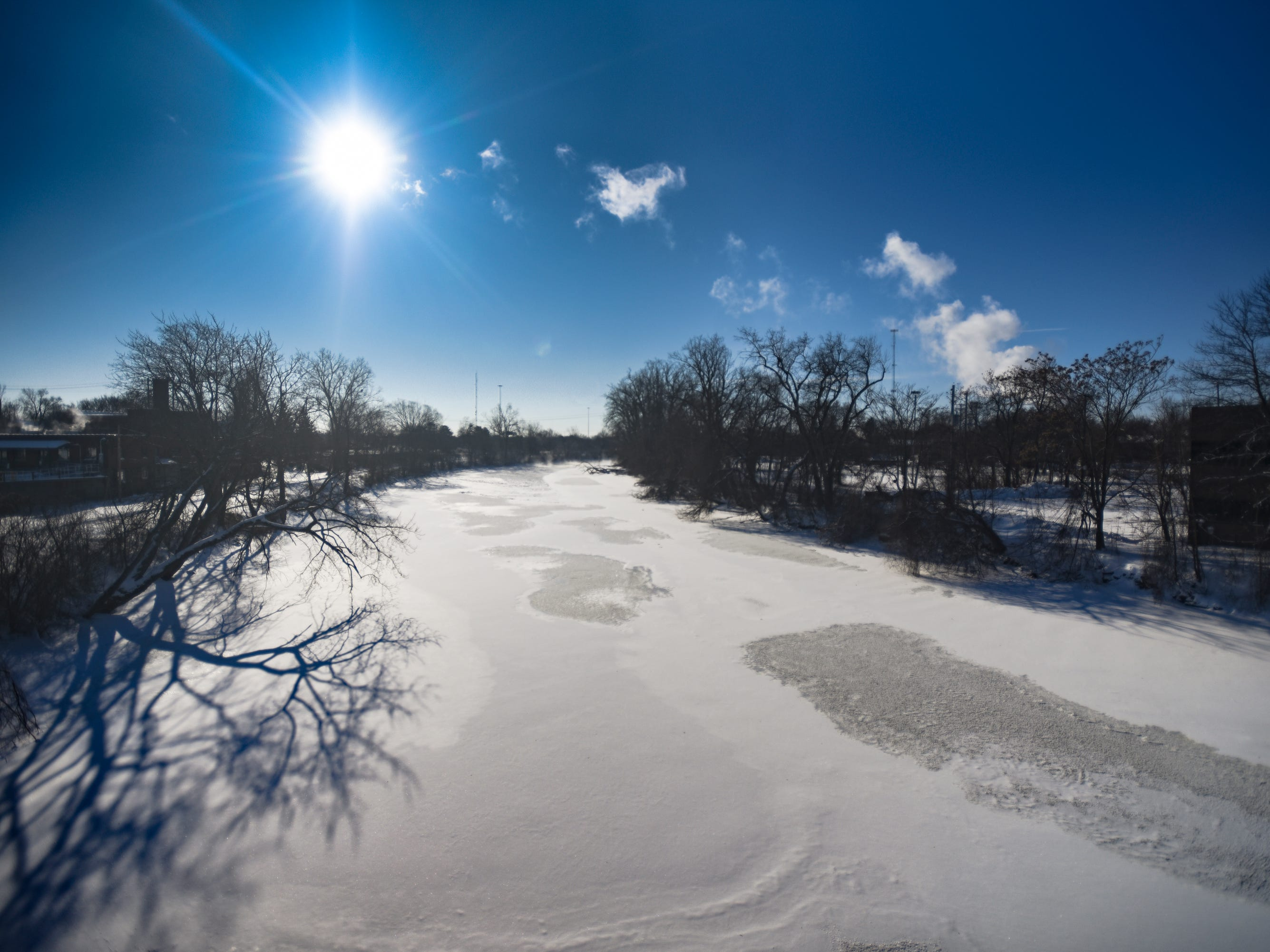 The Grand River from the Kalamazoo St. Bridge facing south, Thursday, Jan. 31, 2019.