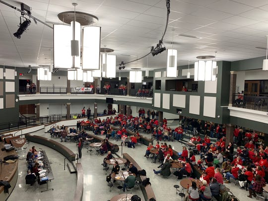 Hundreds of Madison teachers and their supporters attend the Madison School Board meeting January 30, 2019.