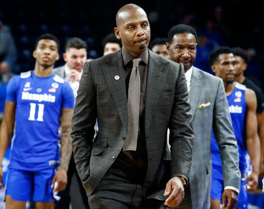 Memphis head coach Penny Hardaway walks off the court after falling 95-79 to Tulsa, Wednesday, January 30, 2019.