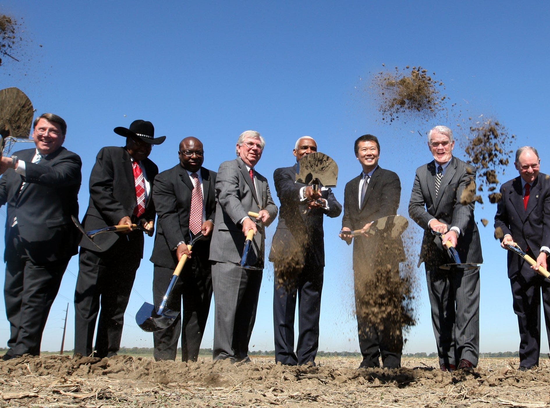 October 5, 2011 - Ground is broken on the new Electrolux facility in the Frank Pidgeon Industrial Park. Taking part in the official ground breaking ceremony are (From Left) State Senator Mark Norris, Shelcy County Commission Chairman Sidney Chism, EDGE Chairman Al Bright, Deputy Governor Claude Rasey, Mayor A C Wharton, Electrolux North America president and CEO Jack Truong, Mayor Mark Luttrell, Arnold Perl,  Chris Berryman of TVA, Delta Region Authority Chairman Chris Masingill and Memphis City Council Chairman Myron Lowery.  (Dave Darnell / The Commercial Appeal)
