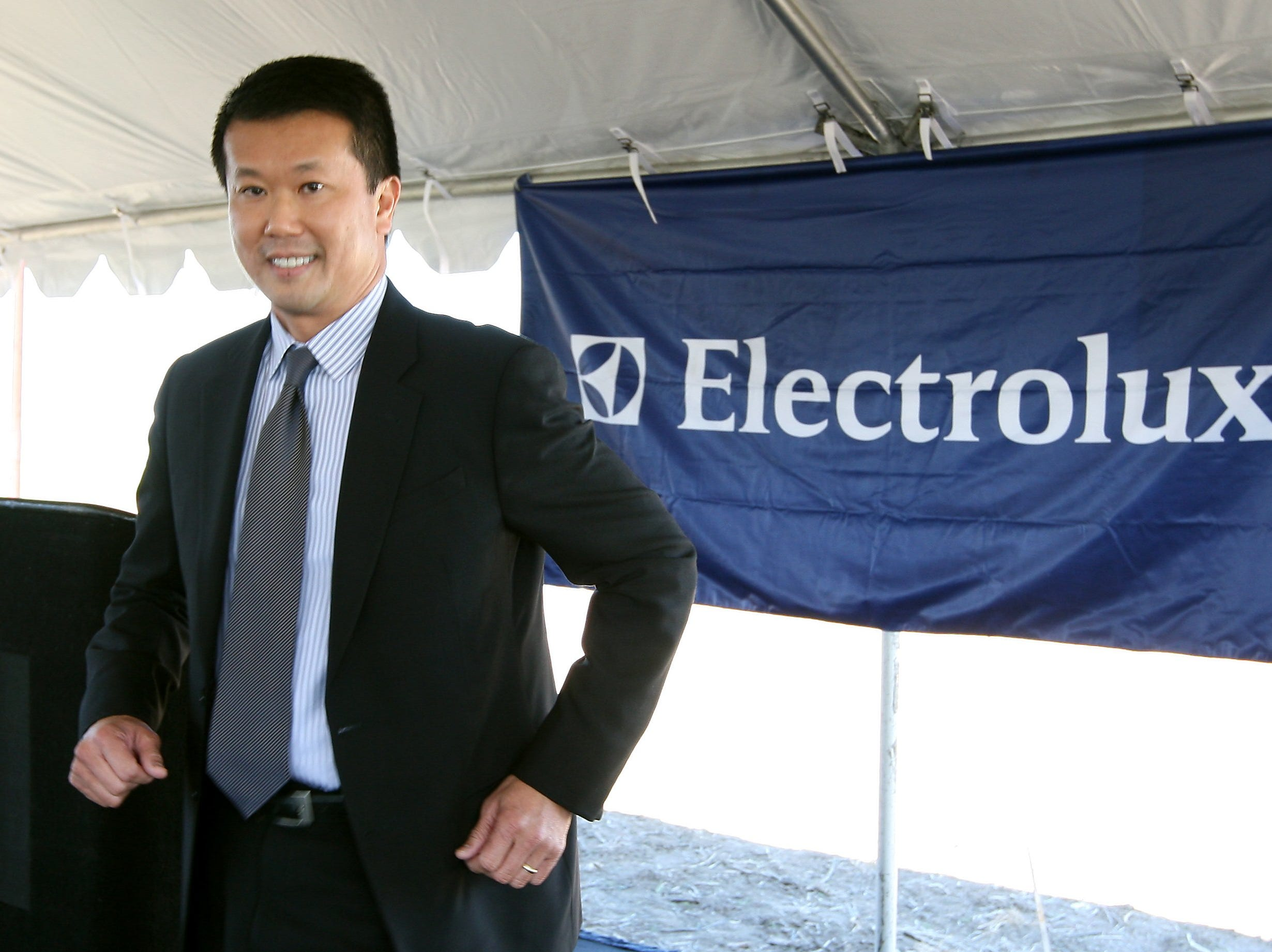October 5, 2011 - Ground is broken on the new Electrolux facility in the Frank Pidgeon Industrial Park. Electrolux North America president and CEO Jack Truong returns to his speech after welcoming remarks.  (Dave Darnell / The Commercial Appeal)