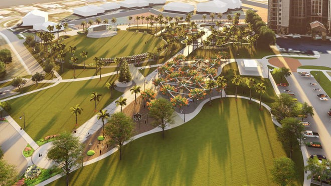 A rendering incorporating the latest elements of the Veterans' Community Park master plan updates.