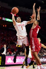 Maryland's Anthony Cowan Jr. (1) made just 4 of 14 shots against Wisconsin on Jan. 14 but got to the free-throw line often, scoring 11 of his 21 points from the stripe.