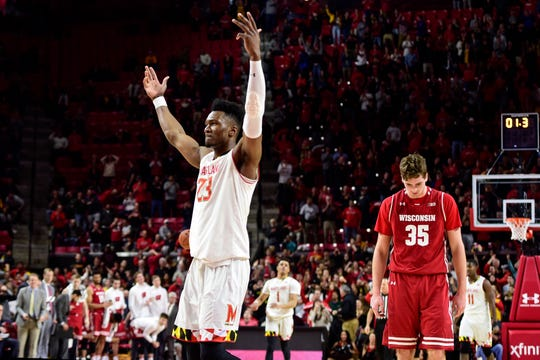 Maryland's Bruno Fernando celebrates after Wisconsin's Nate Reuvers (35) missed the potential game-tying three-pointer in a game Jan. 14.