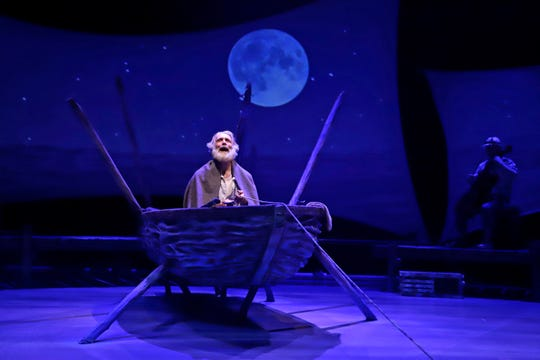 "Milwaukee native Anthony Crivello plays the role of Santiago in a stage adaptation of Ernest Hemingway's ""The Old Man and the Sea"" during a dress rehearsal at the Pittsburgh Playhouse in Pittsburgh. The stage version was written by journalist and playwright A.E. Hotchner, the writer's confidant and fishing companion in Cuba during the period in which the novella was written, and his son Tim Hotchner."