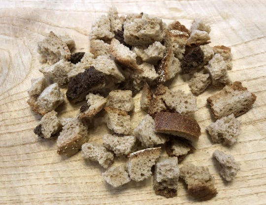 Dried rye bread, cut into cubes and dried overnight, can be frozen so you've got some handy for your next batch of peasant soup.