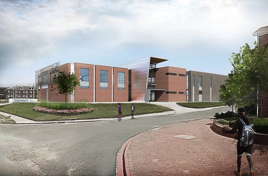This rendering of the new digital library designed for Grambling State University shows the back  of the facility that is estimated to be complete in winter 2020.