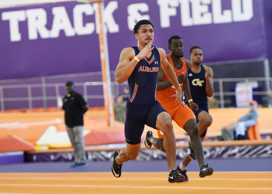 Auburn's Anthony Schwartz took first in the 60-meter dash during the Bob Pollack Invitational in Clemson, S.C., on Friday, Jan. 25, 2019.