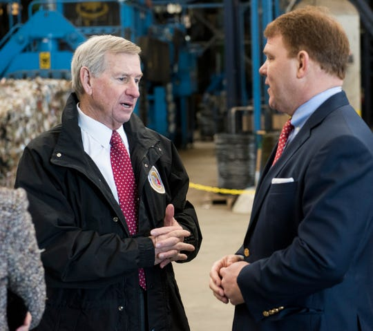 Mayor Todd Strange speaks with Scott Montgomery, president of RePower South during the opening of the RePower South recycling plant in Montgomery, Ala., on Thursday, Jan. 31, 2019.