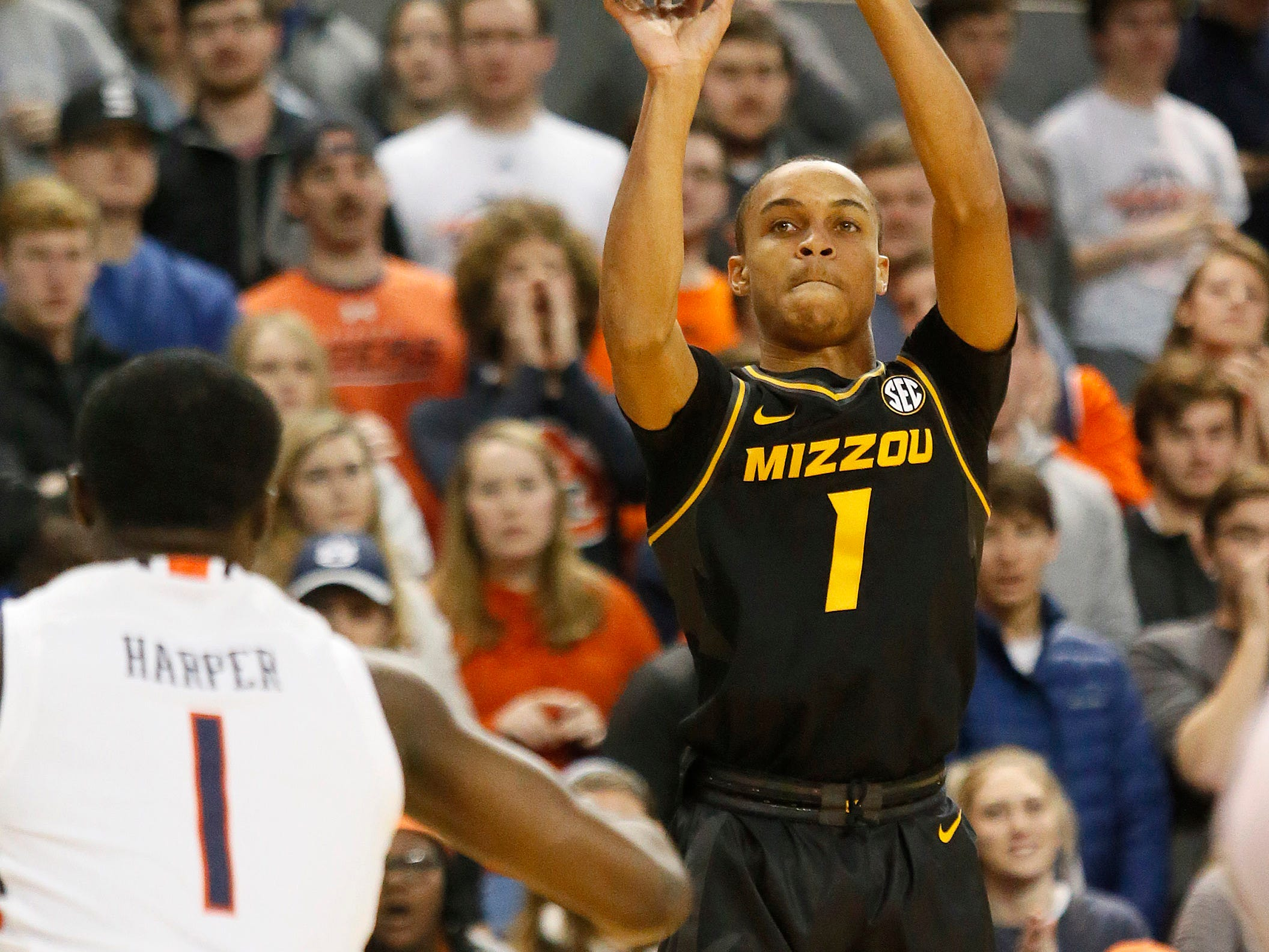 Jan 30, 2019; Auburn, AL, USA; Missouri Tigers guard Xavier Pinson (1) shoots against the Auburn Tigers during the first half at Auburn Arena. Mandatory Credit: John Reed-USA TODAY Sports