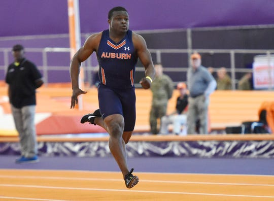 Auburn's Shaun Shivers took third in the 60-meter dash during the Bob Pollack Invitational in Clemson, S.C., on Friday, Jan. 25, 2019.
