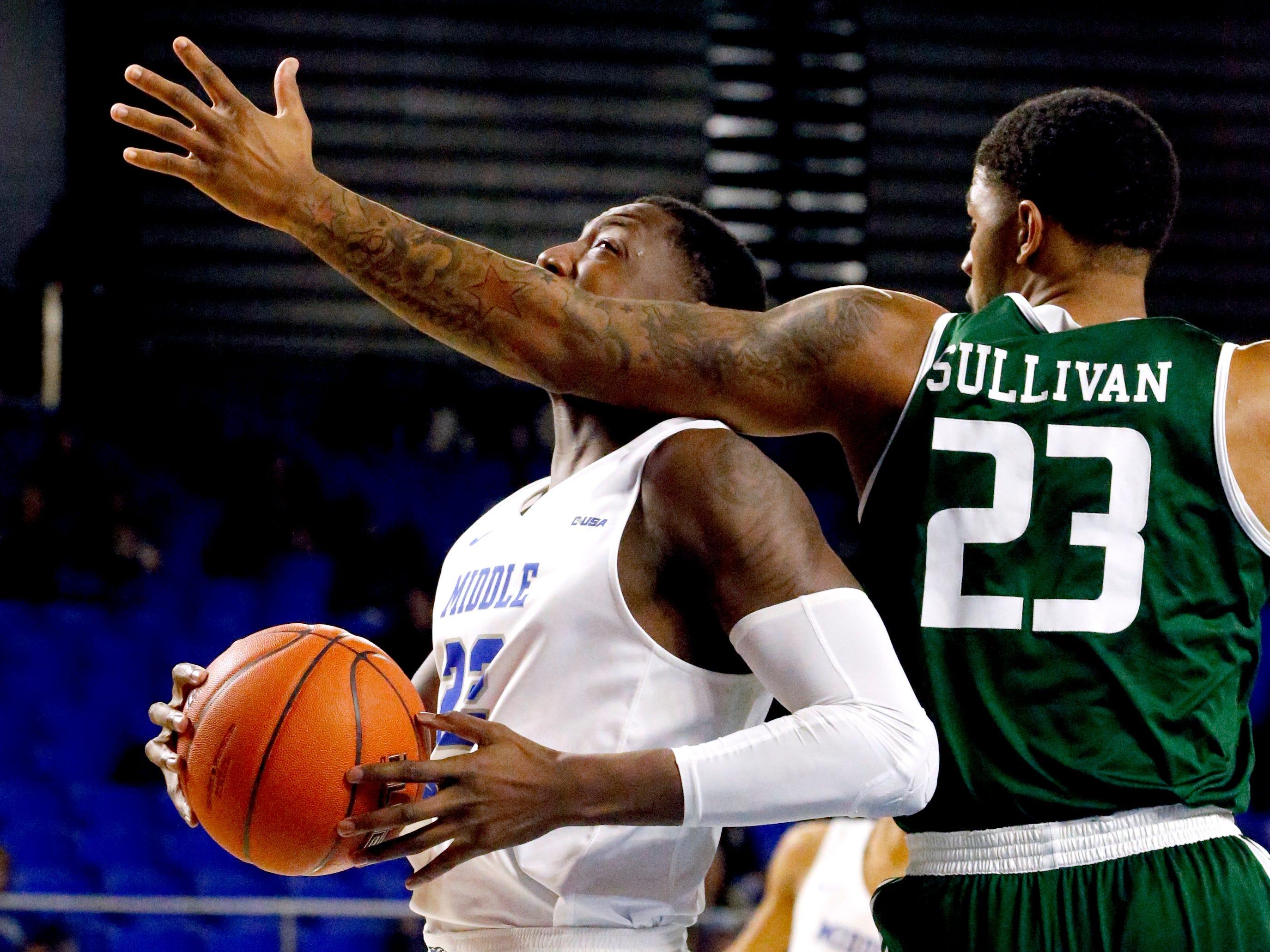 MTSU guard C.J. Jones (23) drives to the basket as UAB's forward Lewis Sullivan (23) guards him on Wednesday Jan. 30, 2019.
