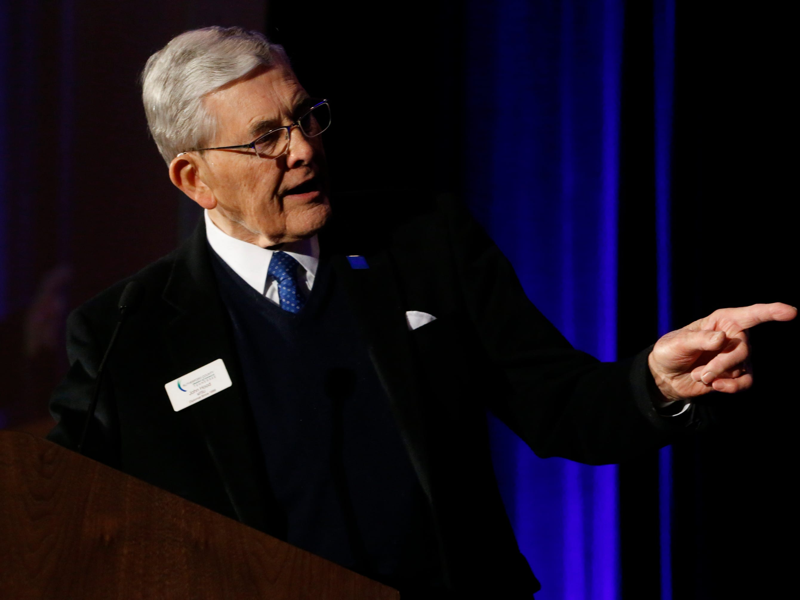 John Hood addresses the crowd after he was presented this year's Doug Young Lifetime Achievement Award at Business at Its Best was held on Wednesday, Jan. 31, 2019 at Embassy Suites.