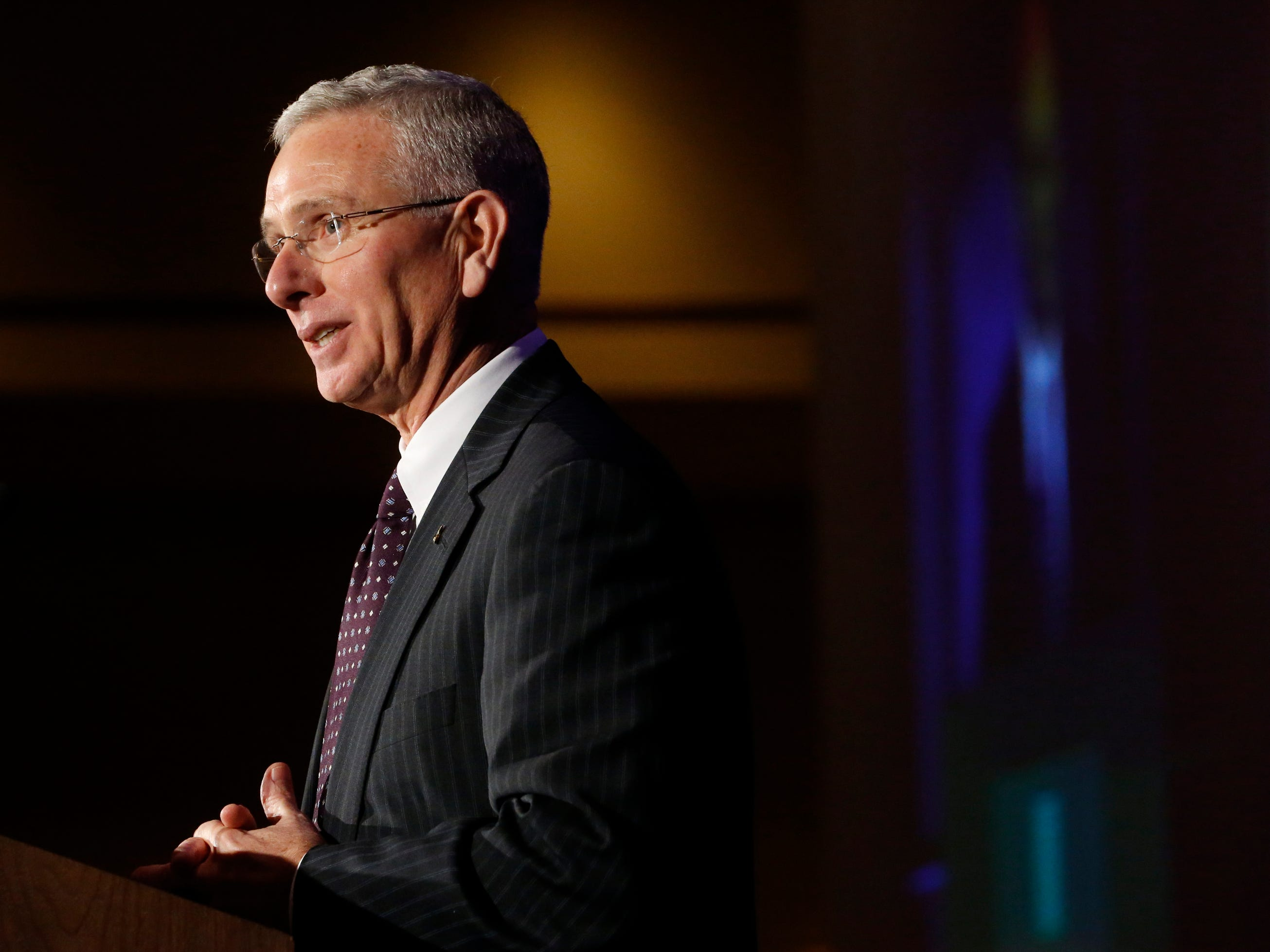 Gordon Ferguson, addresses the crowd after he received this year's Business Legend of the Year at Business at Its Best that was held on Wednesday, Jan. 31, 2019 at Embassy Suites.