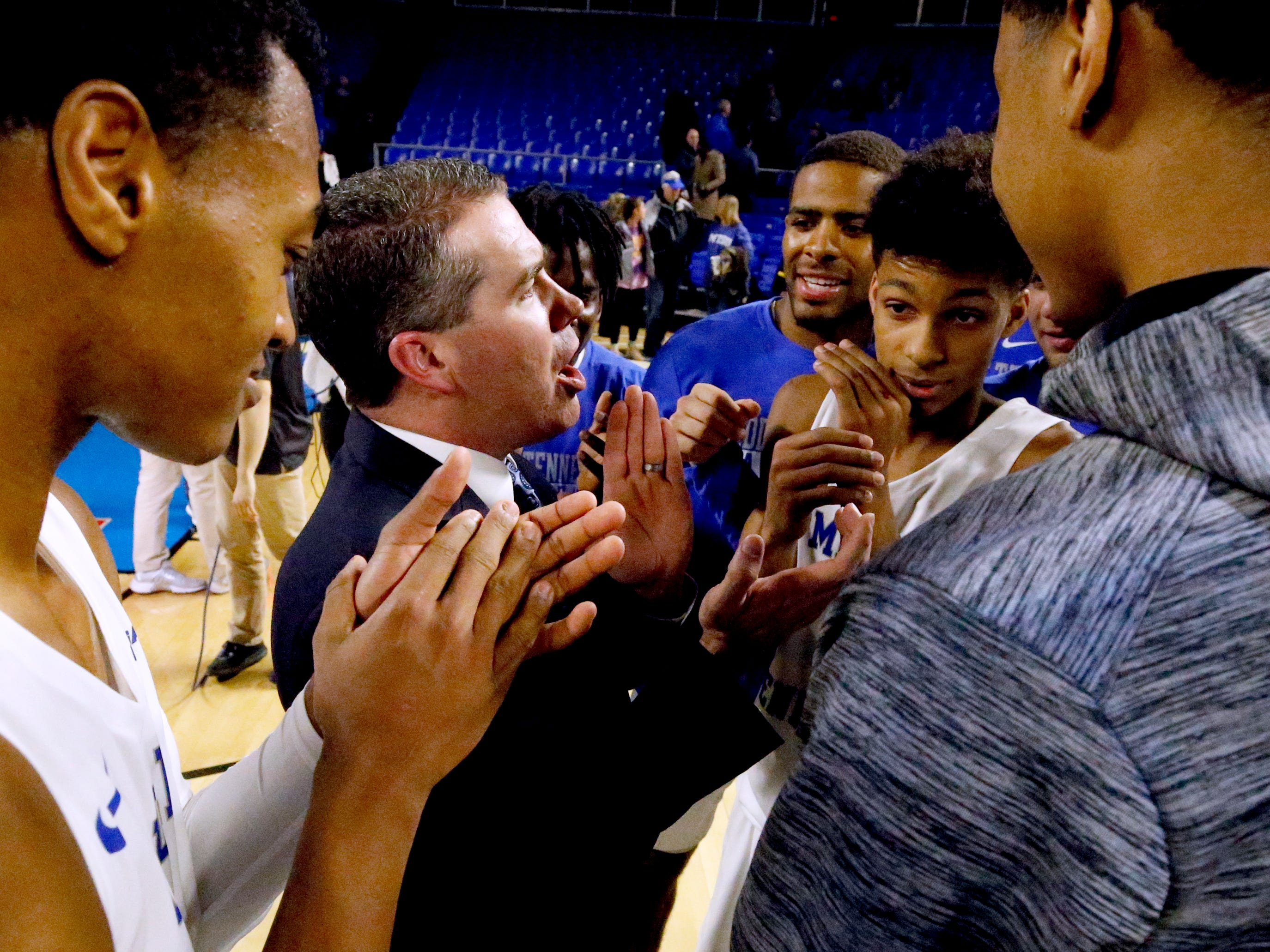 MTSU head coach Nick McDevitt celebrates with his team after they beat UAB 71-65 on Wednesday, Jan. 30, 2019.