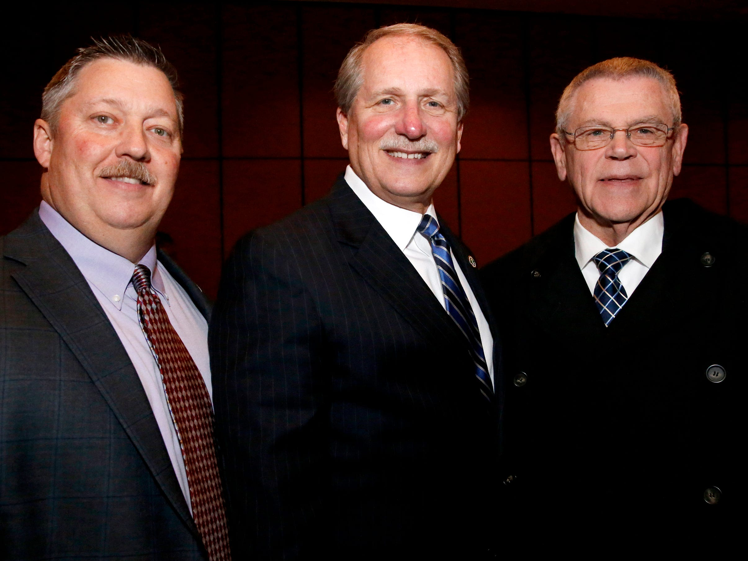 Deputy County Mayor Steve Sandlin, left, Rutherford County Mayor Bill Ketron, center and Sheriff Mike Fitzhugh, right  at Business at Its Best held on Wednesday, Jan. 31, 2019 at Embassy Suites.