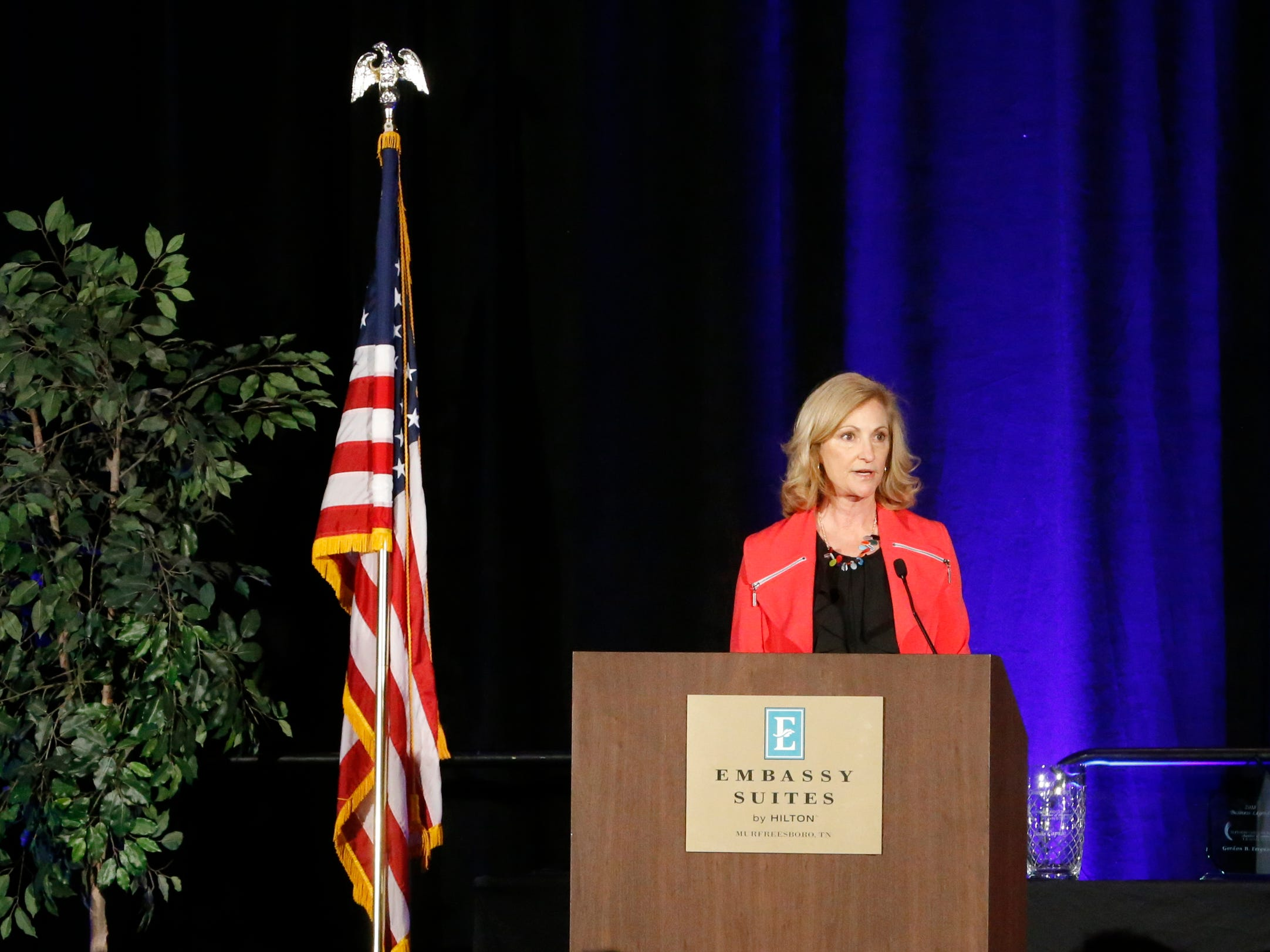 Holli Montgomery addresses the crowd at Business at Its Best was held on Wednesday, Jan. 31, 2019 at Embassy Suites.
