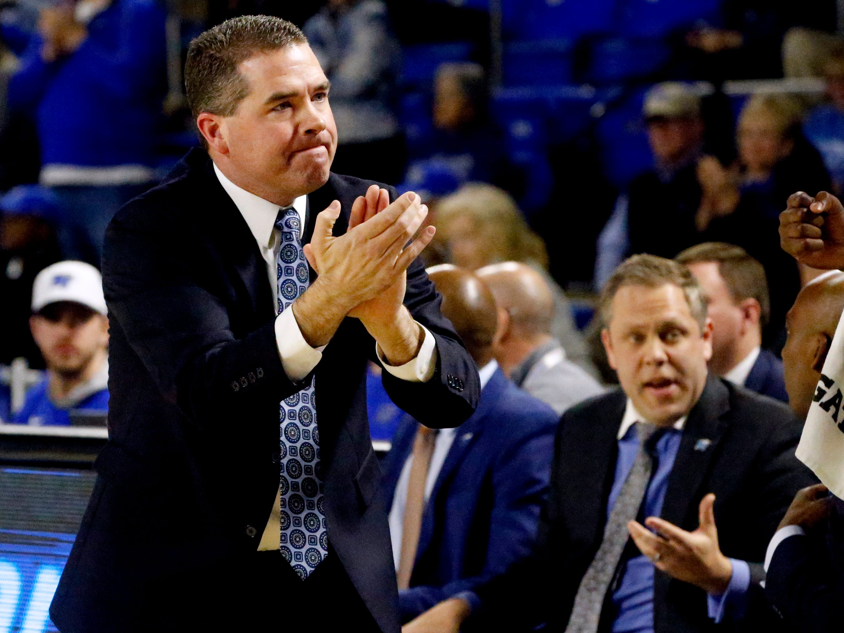 MTSU head coach Nick McDevitt on the sidelines during the game against UAB on Wednesday, Jan. 30, 2019.