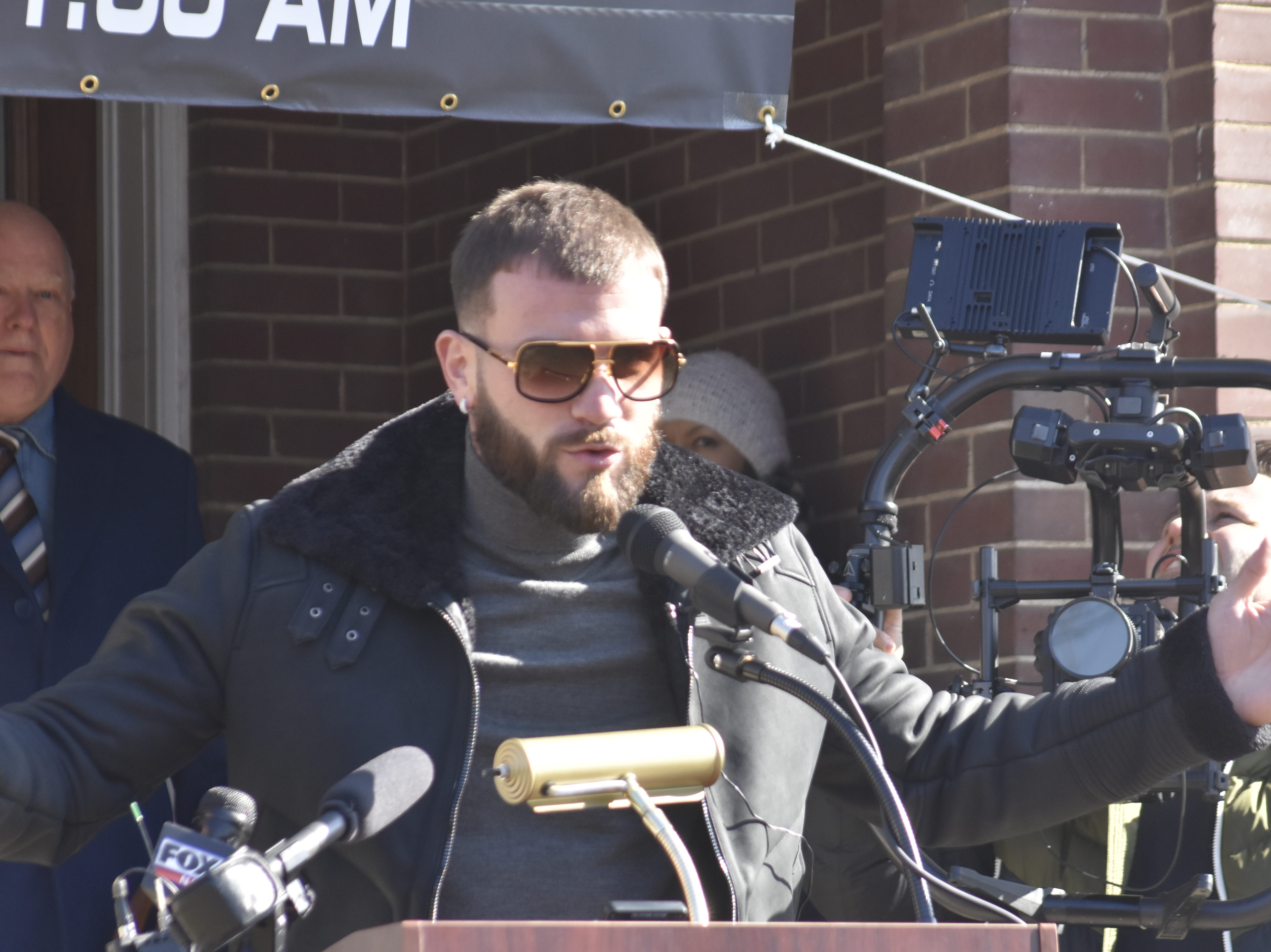"""Newly crowned International Boxing Federation super middleweight champion Caleb """"Sweethands"""" Plant, an Ashland City native, speaks at a news conference Jan. 31 at the Cheatham County Courthouse."""