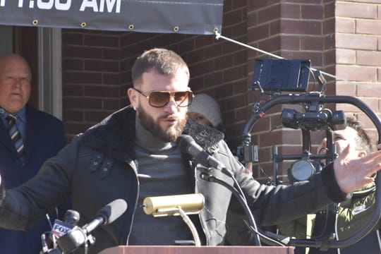 "Newly crowned International Boxing Federation super middleweight champion Caleb ""Sweethands"" Plant, an Ashland City native, speaks at a news conference Jan. 31 at the Cheatham County Courthouse."