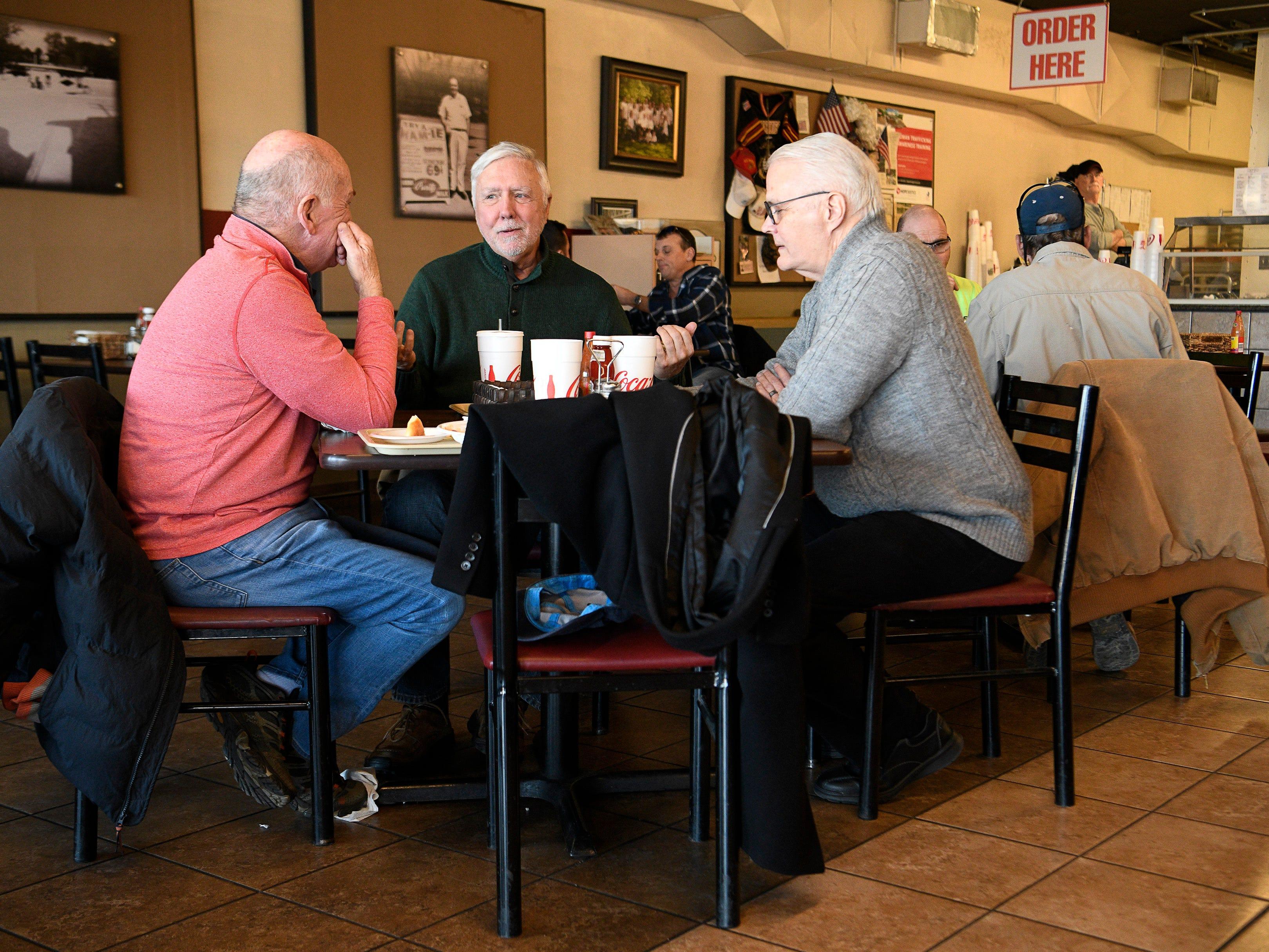 David Bradford, Gary Mills and Steve Smith enjoy lunch at Dairy King Wednesday Jan. 30, 2019 in Nashville, Tenn.