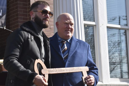 """World boxing champion Caleb """"Sweethands"""" Plant receives a key to the city on  Jan. 31 in Ashland City."""