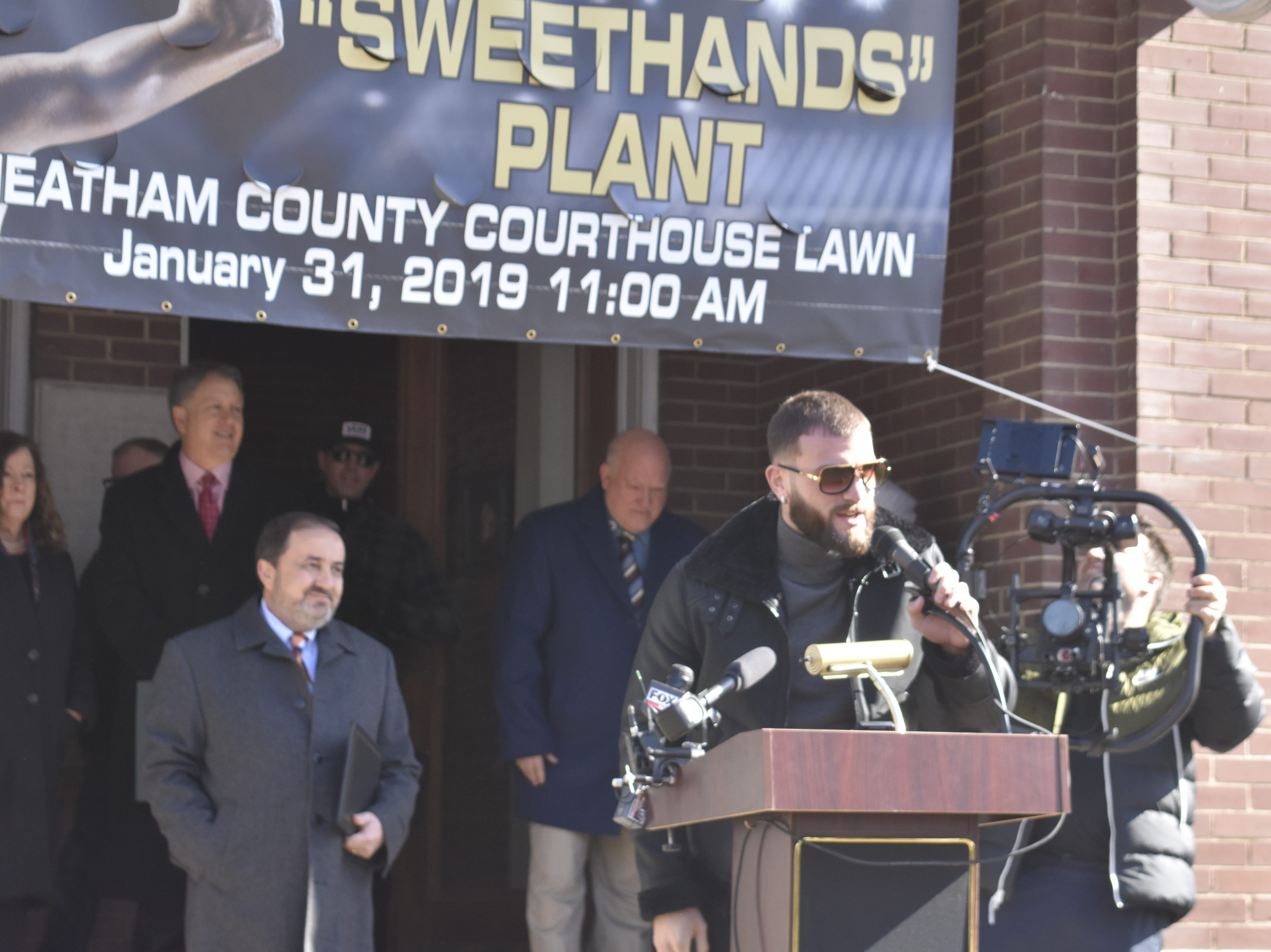 """Newly-crowned International Boxing Federation Super Middleweight Champion Caleb """"Sweethands"""" Plant, an Ashland City native, speaks at a press conference at the Cheatham County Courthouse on Thursday, Jan. 31."""