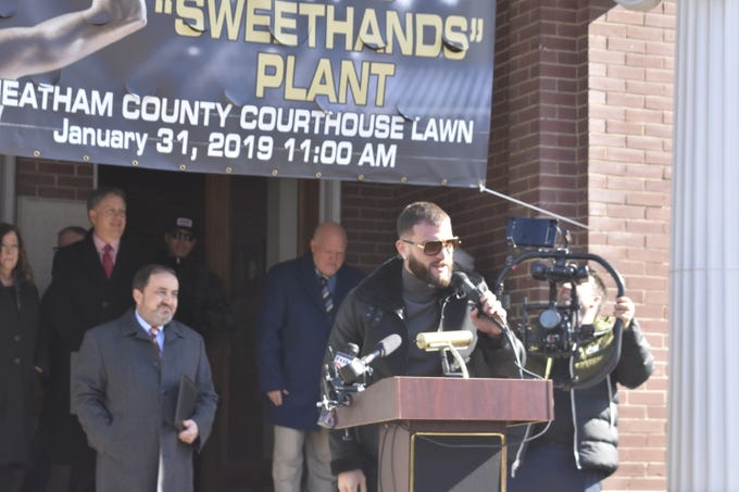 "Newly-crowned International Boxing Federation Super Middleweight Champion Caleb ""Sweethands"" Plant, an Ashland City native, speaks at a press conference at the Cheatham County Courthouse on Thursday, Jan. 31."