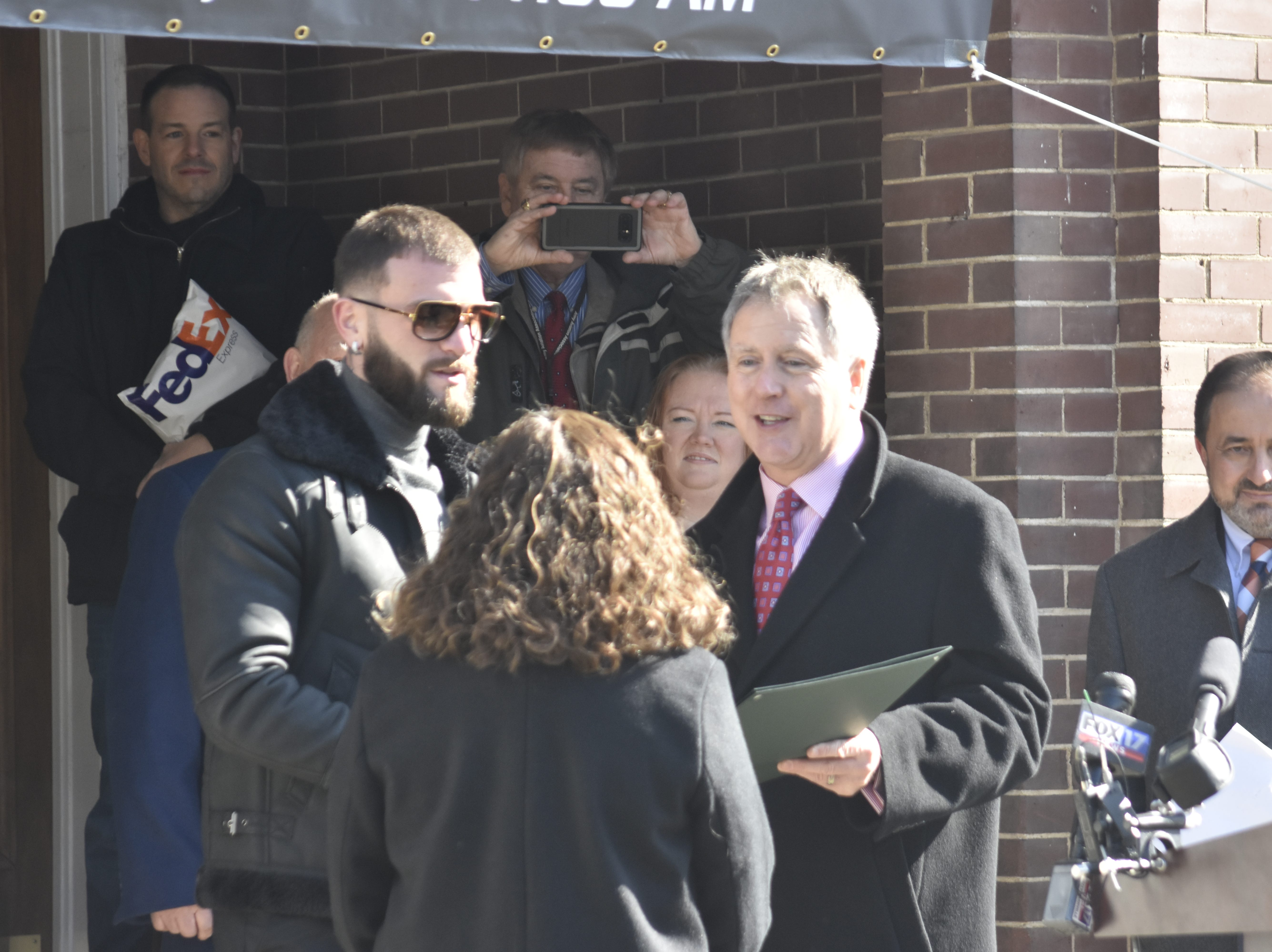 """Tennessee State Representative Mary Littleton and Senator Kerry Roberts recognize Caleb """"Sweethands"""" Plant at the Cheatham County Courthouse on Thursday, Jan. 31."""