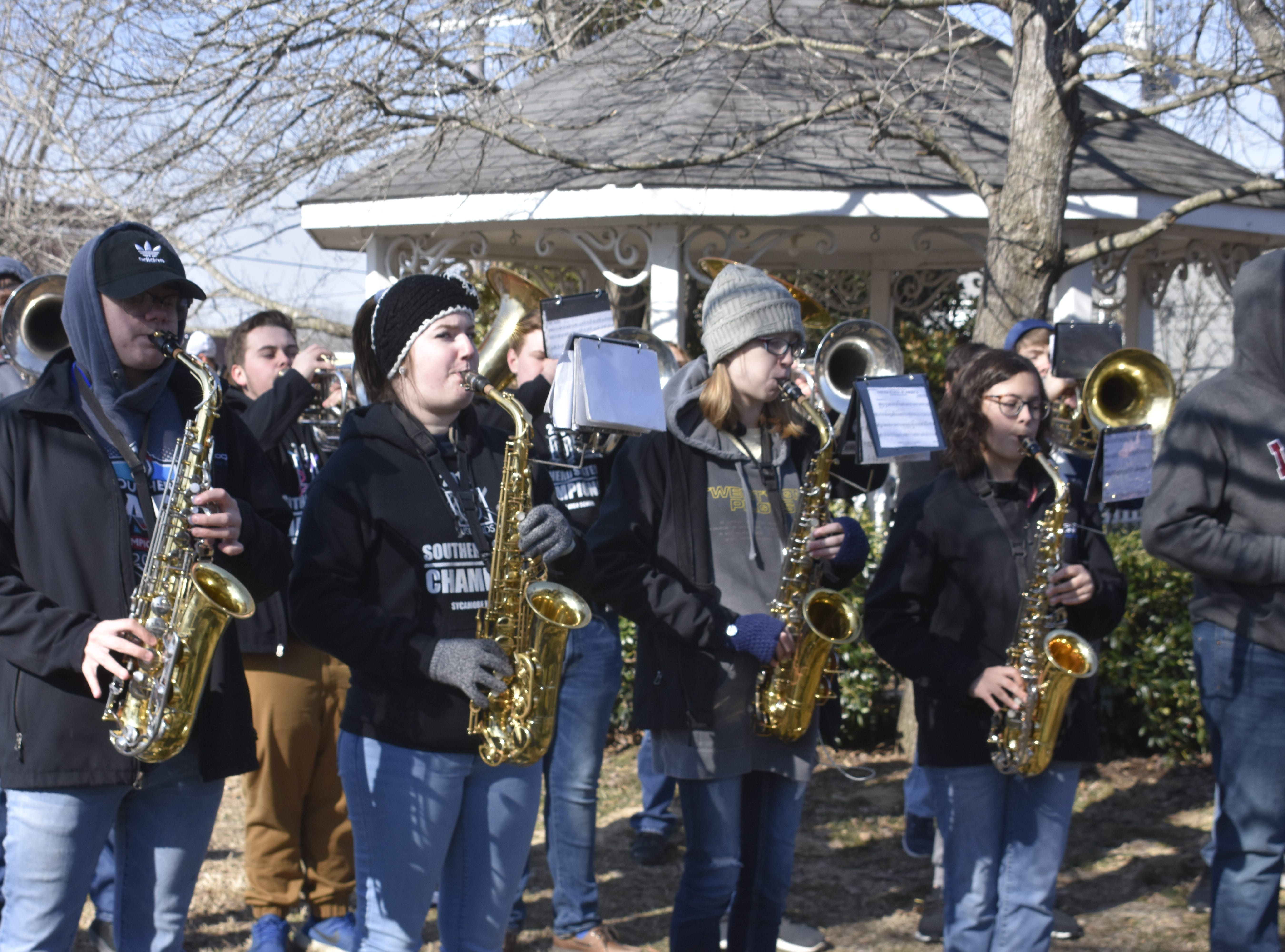 """Sycamore High School band students play at the Cheatham County Courthouse for newly-crowned International Boxing Federation Super Middleweight Champion Caleb """"Sweethands"""" Plant, who grew up in Ashland City and graduated from the school in 2010."""